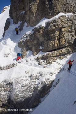 Francesco Tremolada, Andrea Oberbacher, Enrico Baccanti and Norbert Frenademez on 10/04/2014 during the probable first descent of the NNW Face of Tofana di Dentro 3238 m (5.1/E3).