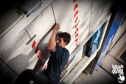 Alex Honnold taking part in Block & Wall, the Trento stage of the Salewa Rockshow 2014