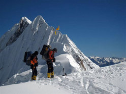 Climbing up to Camp 2 on Manaslu.