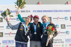 Women's podium of the second stage of the Bouldering World Cup 2014 at Baku: Akiyo Noguchi, Anna Stöhr, Shauna Coxsey