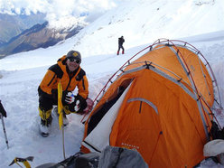 Romano Benet at Camp 1, Manaslu 2008.