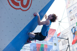 The second stage of the Bouldering World Cup 2014 at Baku: Dmitrii Sharafutdinov