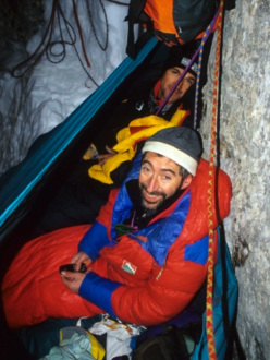 Ilio De Biasio and Lucio Faccin at the bivvy during the 2007 winter ascent of the Agner Spigolo nord (via Gilberti Soravito), Civetta, Dolomites