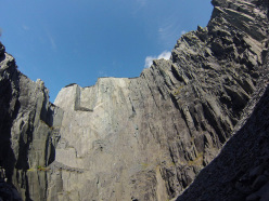 The immense Twll Mawr quarry above Llanberis in Wales.