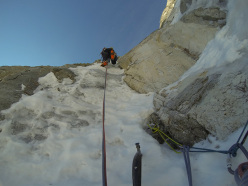 Johannes Bachmann & Manuel Tinkhauser during the first ascent of Seltene Erden on Wildgall on 8/04/2014