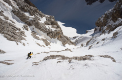 Andrea Oberbacher during the new descent off Sass de Mesdì