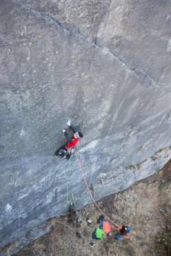 Alex Luger making the first ascent of Psychogramm 8b+, Bürser Platter, Austria