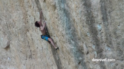 Adam Ondra attempting to onsight Psicoterapia 9a at Valdegovía in Spain.