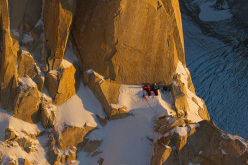 David Lama and Peter Ornter at the bivy on Cerro Torre, Patagonia