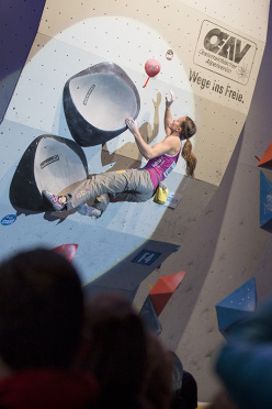 Anna Stöhr competing in the 4th stage of the Boulder World Cup 2014.