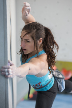 Alex Puccio competing in the 4th stage of the Boulder World Cup 2014.