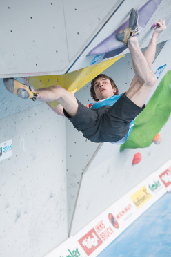 Dmitrii Sharafutdinov competing in the 4th stage of the Boulder World Cup 2014.