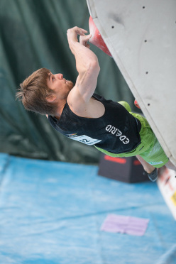 Jan Hojer competing in the 4th stage of the Boulder World Cup 2014.
