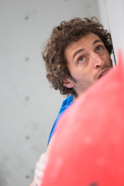 Guillaume Glairon Mondet competing in the 4th stage of the Boulder World Cup 2014.