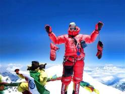 Italian alpinist Marco Camandona on the summit of Kangchenjunga