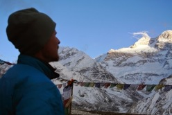 Artiom Braun observing the North Face of Kangchenjunga