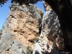 The narrow cleft through which you reach the village of Tiscali