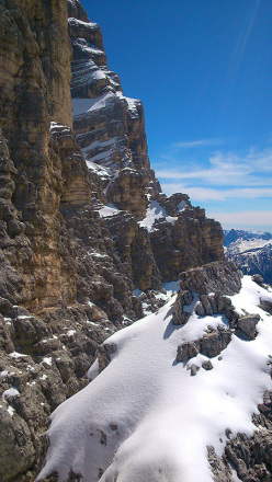 The descent carried out by Paolo Michielini on 04/05/2014 on Monte Pelmetto, Dolomites