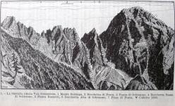 A destra il versante Nord del Pizzo di Prata con la via Buzzetti (1e) e la via Ielmi - Mezzera (1d).