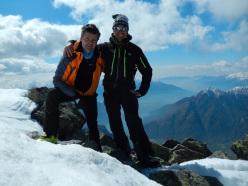 I due valligiani che il 13/04/2014 hanno salito e disceso con gli sci il Pizzo di Prata dalla selvaggia Val Schiesone e per il ripido versante Sud Est.
