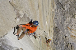 Nicolas Favresse and Sean Villanueva on the crux pitch 10 of