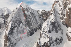 Ryan Jennings and Kevin Cooper making the first ascent of Stairway to Heaven (A1, M6, WI4, AI5+, X, 1200m, 01-04/05/2014) Mt. Johnson, Ruth Gorge, Alaska