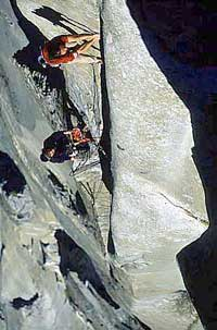 Alexander Huber and Thomas Huber climbing the Headwall on Golden Gate