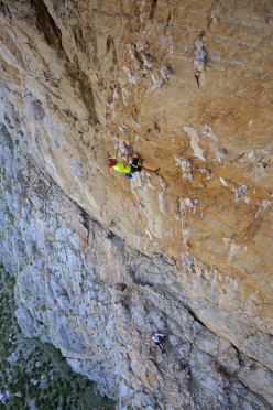 Tommy Caldwell and Josh Wharton during the first ascent of You Cannoli Die Once (7c/+, 6 pitches), established together with Sonnie Trotter on Monte Monaco, San Vito Lo Capo, Sicily.