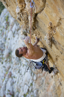 Josh Wharton during the first ascent of You Cannoli Die Once (7c/+, 6 pitches), Monte Monaco, San Vito Lo Capo, Sicily.