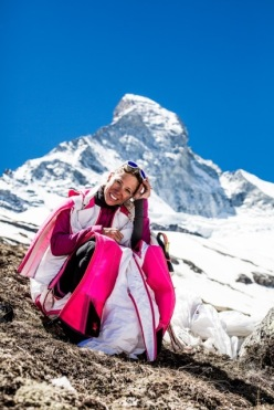 Géraldine Fasnacht after her BASE jump off the Matterhorn on 07/06/2014
