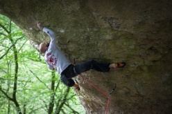 Markus Bock climbing Becoming 9a+, Frankenjura