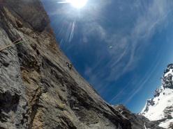 6b+ slab protected by pegs. El Gordo (6c/7a, 450m, Silvan Schüpbach & Luca Schiera 06/2014) Wendenstöcke, Switzerland