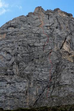 Silvan Schüpbach & Luca Schiera making the first ascent of El Gordo (6c/7a, 450m) on Wendenstöcke, Switzerland
