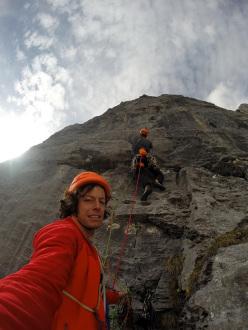 Good rock on the starting pedestal: Silvan Schüpbach & Luca Schiera making the first ascent of El Gordo (6c/7a, 450m) on Wendenstöcke, Switzerland