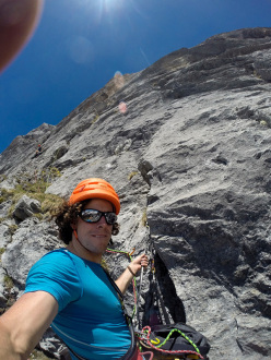 Getting closer to the headwall: Silvan Schüpbach & Luca Schiera making the first ascent of El Gordo (6c/7a, 450m) on Wendenstöcke, Switzerland