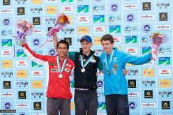 Haiyang, Cina Lead podio maschile: Sean McColl, Jakob Schubert, Gautier Supper