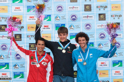 Haiyang, China Boulder Men's podium: Sean McColl, Jan Hojer, Guillaume Glairon Mondet