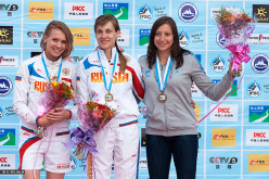 Haiyang, China Speed women's podium: Iuliia Kaplina, Mariia Krasavina, Anouck Jaubert