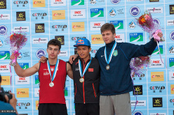 Haiyang, China Speed men's podium: Marcin Dziensk, Qixin Zhong, Danylo Boldyrev