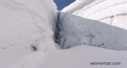 Sébastien Montaz-Rosset in the Geant glacier, Mont Blanc