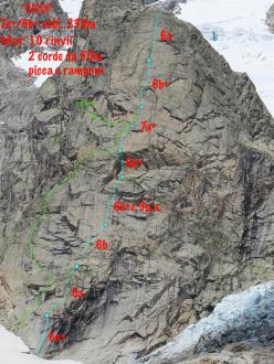 Cicci (7a+, 230m, François Cazzanelli, Marco Bernardi, Marco Farina 06/2014), Val Ferret, Mont Blanc