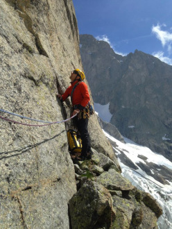 During the first ascent of Cicci (7a+, 8 pitches, François Cazzanelli, Marco Bernardi, Marco Farina), Val Ferret, Mont Blanc.