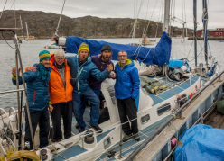 Olivier Favresse, Reverend captain Bob Shepton, Nicolas Favresse, Sean Villanueva and Ben Ditto on their sailing boat Dodo's Delight.