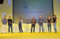 Durante l'inaugurazione della 6° edizione di Cortina InCroda. Da sx a dx: Pier Paolo Rossi, Heinz Mariacher, Luisa Iovane, Enrico Camanni e Federico Buranona