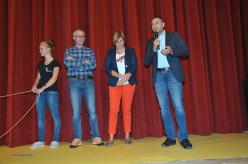 Durante l'inaugurazione della 6° edizione di Cortina InCroda. Da sx a dx: Giorgia Costantini, Federico Buranona, Giovanna Martinolli e Enrico Pompanin