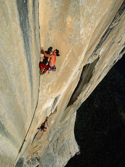 In 2001 Alexander Huber made the first ascent of El Corazon, 35 pitches weighing in at 5.13b on El Capitan, Yosemite.