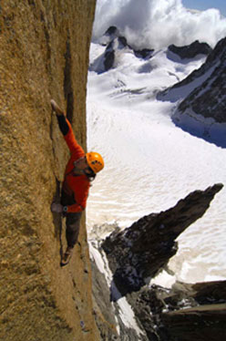 Alexander Huber in summer 2008 soloing the Swiss Route on Gran Capucin, Mont Blanc.