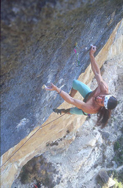 Alexander Huber in 1994 on La Rambla, Siurana, Spain