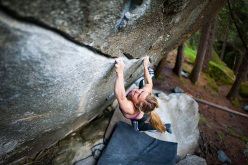 Shauna Coxsey climbing Base Line 8B+ at Magic Wood, Switzerland. Just 5 sessions were needed to climb this 8b+ boulder problem.