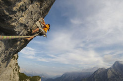 Alexander Huber during the first ascent of Feuertaufe 8b+, Sonnwand, Austria